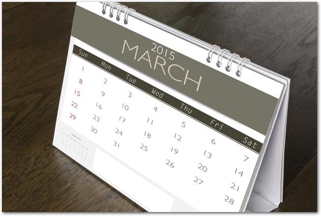 3月の卓上カレンダー