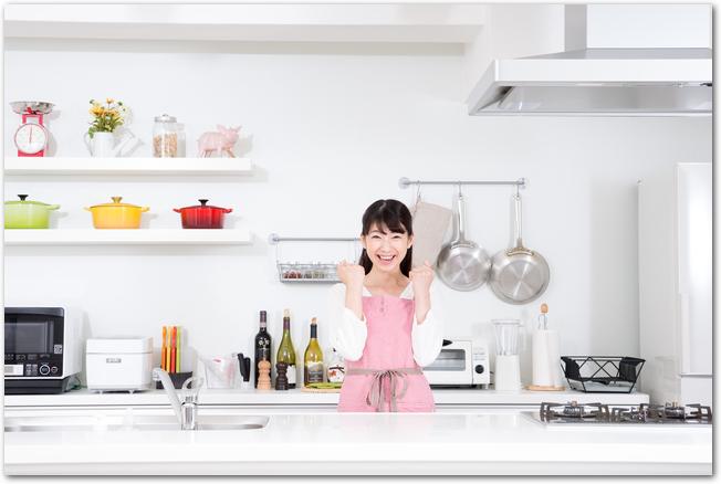 キッチンでガッツポーズをする女性の様子