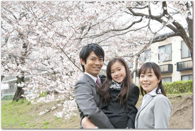 桜の木の下にいる幼稚園の娘と両親
