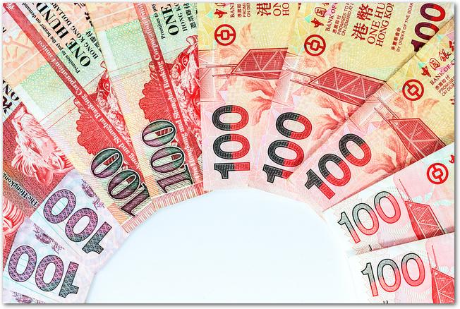 扇形に並べられた100香港ドル紙幣