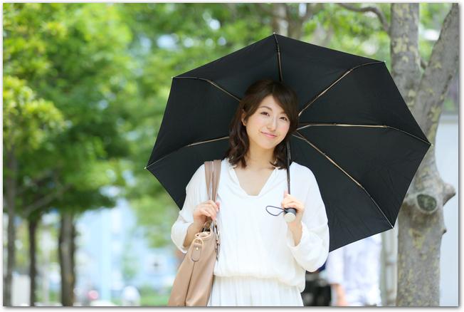 黒い日傘をさして並木道を歩く女性の様子
