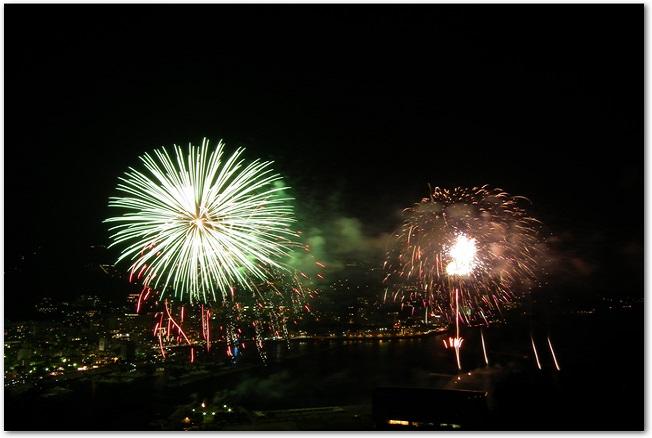 熱海城から見る熱海海上花火大会の花火の様子