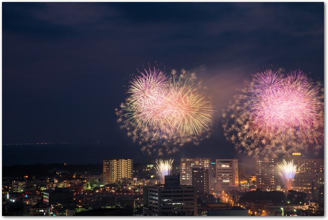 狩野川花火大会の市街地に上がる花火