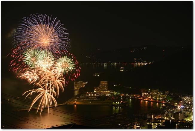 熱海海上花火大会で夜空に打ち上げられている花火