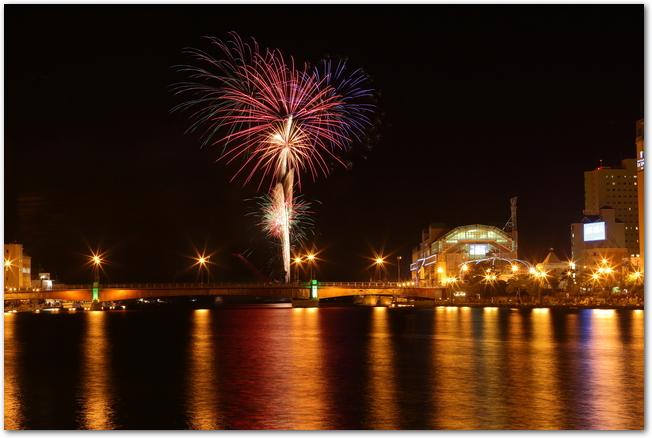 釧路大漁どんぱくで打ち上げられている花火と釧路の夜景