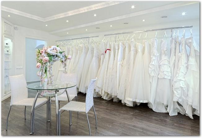 ウェディングドレスが沢山並べてある衣装部屋の様子