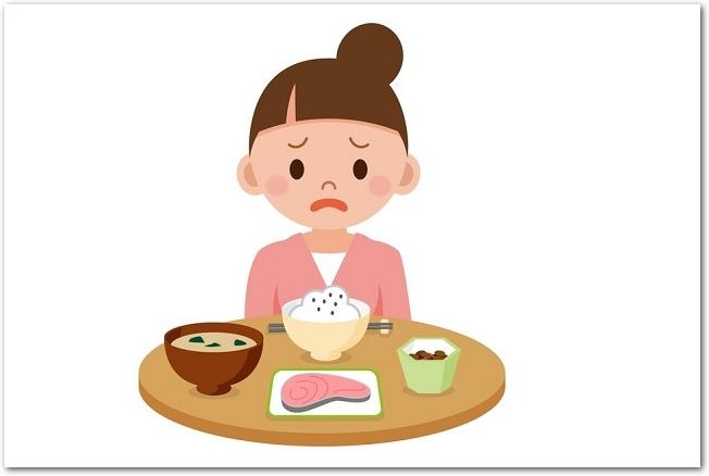 夏バテで食欲不振の女性イラスト